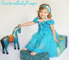 Vintage Turquoise Blue Ruffle Lace Girl's DRESS, Ruffle dress, flower girl dress, birthday dress, baby dress, MATCHING Accessories in store