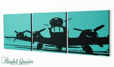 Airplane Artwork on 3 Panels  Personalized Wall Art  by RightGrain, $68.00