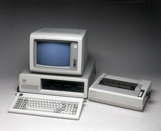 """IBM PC Model 5150 with printer, 1981.  Sure, the world had personal computers before the 5150 was introduced in 1981. IBM's sales pitch—bringing Big Blue's corporate computing prowess into the home—helped make this a wildly successful product. Even more influential than the 5150 itself was Big Blue's decision to license its PC operating system, DOS, to other manufacturers. That led to the birth of """"IBM Compatibles,"""" the forerunner to almost all non-Apple PCs out there today."""