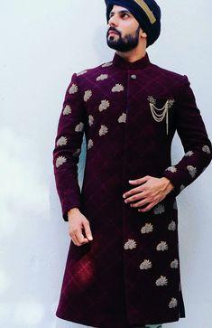 Latest Wedding Designer Sherwanis for groom Couple Wedding Dress, Wedding Outfits For Groom, Groom Wedding Dress, Bridal Outfits, Wedding Suits, Sherwani For Men Wedding, Wedding Dresses Men Indian, Sherwani Groom, India Fashion Men