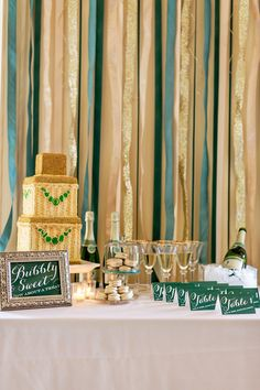 Champagne And Emerald Wedding Ideas From Sugar Branch Events Ruffled