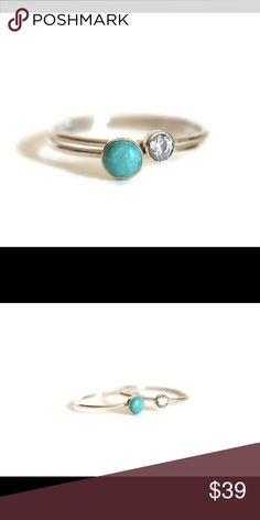 1HR SALE! Sterling Silver Turquoise & CZ Rings A set of 2 924 solid Sterling silver stacking rings. One of the  rings has a 6mm turquoise bezel set gemstone and the other ring has a 3 mm cuz diamond cut stone. These are available in sizes 2-13. nejd Jewelry Rings