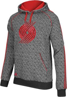 Trail Blazers Adidas Knit Rib All-Over Static Print Pullover Hooded  Sweatshirt 9d2960f29