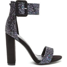 Glitter Party Buckled Ankle Strap Heels (€26) ❤ liked on Polyvore featuring shoes, sandals, multi, high heel sandals, glitter sandals, wide shoes, toe strap sandals and sparkly sandals
