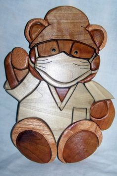 INTARSIA SURGICAL BEAR by WoodenArtbyTom on Etsy, $35.00