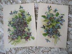 c1890s 2 Violets Catherine Klein Print s Flower Chromolithograph #rubylane #VintagePrint