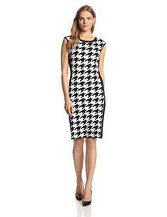 Calvin Klein Women's Sleeveless Houndstooth Print Dress, Black/Eggshell, Medium - http://r1m.biz/?p=3417