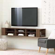South Shore City Life 66 inch Wall Mounted TV Stand, Multiple Finishes, Brown