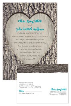 Go rustic with this carved-heart wedding invite. Bonus: you'll get the rsvp card for free when you purchase the invite!
