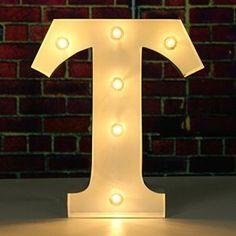 SOLMORE 23*5.5CM Lettre LED Lumineux A-Z Métal Alphabet Lampe Ampoule Stickers Muraux Décoration école,Hôtel,Bar,Restauration,Chambre…