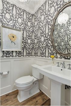 43 Perfect Farmhouse Half Bath Ideas 79 Floral Wallpaper Powder Room Traditional with Wainscoting 4