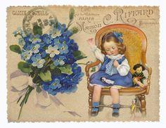 JanetK.Design Free digital vintage stuff: kaartjes met blauw tinten