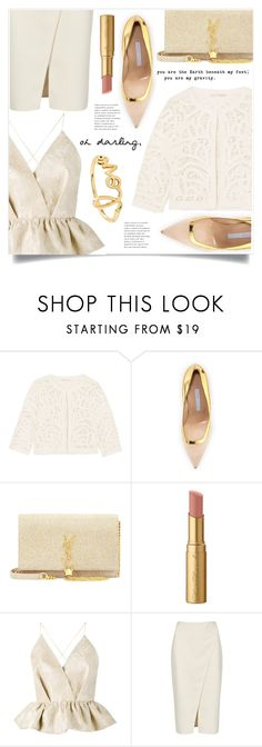 """""""Dinner With Darling"""" by marina-volaric ❤ liked on Polyvore featuring Maje, Manolo Blahnik, Yves Saint Laurent, Too Faced Cosmetics, Delpozo, Acne Studios and Sydney Evan"""