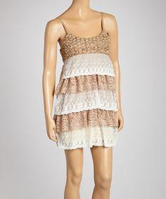 Love this Khaki Crocheted Tiered Dress on #zulily! #zulilyfinds