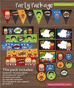 Superhero Party package Avengers birthday by PrinterFairy on Etsy