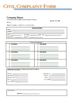 Free Legal Complaint Form  My Board