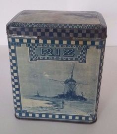 FRENCH LITTLE BOX 1900 LITHOGRAPHED SHEET METAL FOR RICE