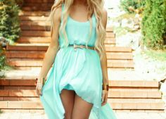 aqua, blonde, blue, bow, clothes, curles, dress, fashion, girl, hair, hot, outfit, pretty, style, summer, warm