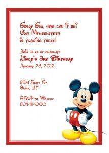 Free Mickey Mouse Printable Invitation... would be cute for to invite your kids or someone else traveling with you!