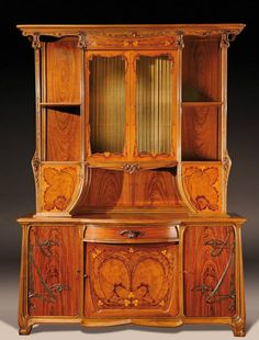 LOUIS MAJORELLE Art Nouveau marquetry cupboard, circa H : 106 ¼.Outstanding and such a beautiful masterpiece. Art Nouveau Furniture, Antique Furniture, Rustic Furniture, Victorian Furniture, Outdoor Furniture, Furniture Design, Furniture Wax, Cheap Furniture, Industrial Furniture