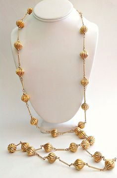 Satin Gold Necklace NAPIER Vintage Long Flapper by RenaissanceFair