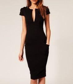 Ponti Pencil Dress Black
