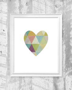 Heart art print geometic triangles wall art par PrintableGrafikArt