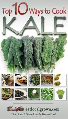 Kale is considered to be one of the Super Foods for those concerned with eating healthy, local grown diets. According to Wikipedia, Kale is very high in beta carotene, vitamin K, vitamin C, lutein, zeaxanthin, and reasonably rich in calcium. Until the end of the Middle Ages, kale was one of the most common green vegetables in all of Europe. Click to see the top ten ways to prepare Kale...