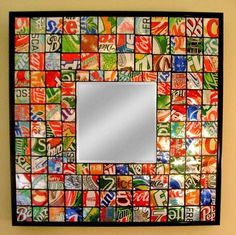 soda can mirror mosaic great for the game room!