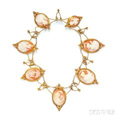 Victorian Gold and Shell Cameo Necklace