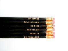 Gentle Reminders Pencils Black Set of 6 by AmandaCatherineDes