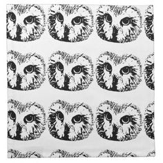 OWL Print Cloth Napkins - animal gift ideas animals and pets diy customize