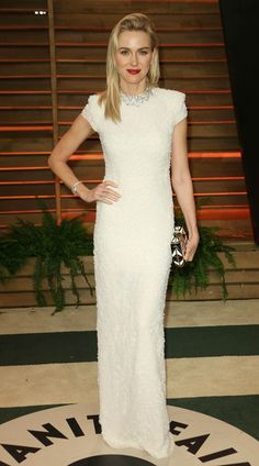 The Oscars 2014  Naomi Watts oozes understated glamour in her cream Calvin Klein column dress.