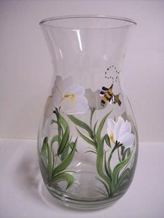 Vase with Tulips and Bumblebees by Morningglories1 on Etsy, $30.00