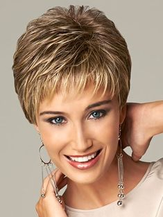 Synthetic highlights blonde short female haircut, puffy pelucas pelo natural short hair wigs for black women - Short Hair Styles Short Pixie Haircuts, Short Hairstyles For Women, Wig Hairstyles, Everyday Hairstyles, Trendy Hairstyles, Haircut Short, Sassy Haircuts, Layered Hairstyles, Short Undercut