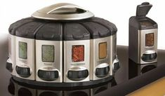 Auto-Measure Automatic Spice Dispenser Organizer Carousel without Spices New Gadgets, Kitchen Gadgets, Spice Rack Carousel, Weird Inventions, Spice Labels, Keyboard Piano, Spice Organization, Electronic Toys, Kitchen Dining