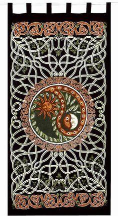 Unique Handmade Celtic Yin Yang Curtain 100% Cotton Drape Copper Green 44x88