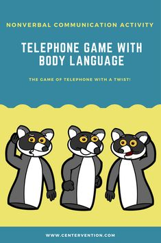 Telephone Game With Body Language Telephone Game With Body Language,Communication skills activities This lesson uses the classic Telephone Game to teach communication skills, but it adds a twist to show how we also communicate. Social Skills Lessons, Social Skills Activities, Language Activities, Life Skills, Learning Activities, Coping Skills, Therapy Activities, Classroom Activities, Communication Activities