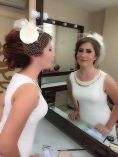 kırık beyaz nikah şapkası gelinlik şapkası
