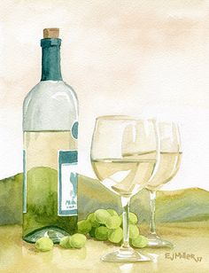 Wine Shipping Boxes Ups Code: 2735332629 Watercolor Projects, Watercolor Landscape, Watercolor Print, Watercolor Paintings, Watercolours, Wine Wall Art, Wine Art, Wine Painting, Moon Painting