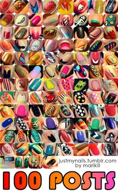 100 NAIL Designs, one Pin. A great post to come to if you are not sure what you want to paint on your nails, but want a challenge.