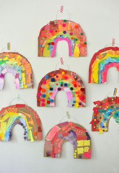 Children use colored collage material to make a rainbow out of cardboard .Children use colored collage material to make a cardboard rainbow. rainbowcrafts Children use colored collage material to make a cardboard rainbow. Art Activities For Kids, Easy Crafts For Kids, Toddler Crafts, Preschool Crafts, Projects For Kids, Diy For Kids, Fun Crafts, Colorful Crafts, Summer Crafts
