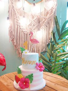 Vivienne's Tropical Pink Flamingo Themed Party – Birthday 8th Birthday, 1st Birthday Parties, Birthday Cake, Edible Flowers, Pink Flowers, Vanilla Macarons, Two Tier Cake, Different Shades Of Pink, Flamingo Party