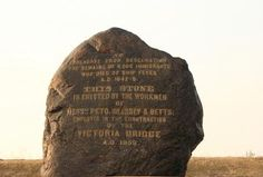 """Annual pilgrimage takes participants from all over North America to the Irish Commemorative Stone that sits near Montreal's Victoria Bridge.In 1857, workers who were excavating land to build the bridge accidentally discovered a mass graveyard with thousands of coffins.    The remains were of the 6,000 Irish """"coffin ship"""" victims."""