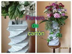 Reciclaje con Artesania: FLORERO DE CARTÓN Paper Vase, Plants, Instagram, Youtube, Gardens, Fresh Flowers, Fake Flowers, Flower Vases, Christmas Crafts