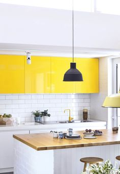 21 exciting yellow kitchen cabinets images kitchen yellow home rh pinterest com
