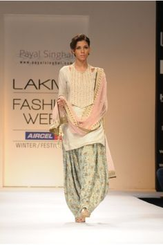 the soft pastel color palette + printed patiala salwar = perfect for spring! | payal singhal lfw f/w '11