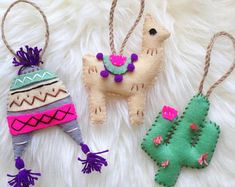 Set of 3 Peru Decorations. Llama/Cactus/Peruvian H - Excited to share the latest addition to my shop: Set of 3 Peru Decorations. Felt Crafts Diy, Felt Diy, Handmade Felt, Llama Christmas, Felt Christmas, Christmas Ornaments, Cactus Christmas Trees, Ribbon On Christmas Tree, Handmade Christmas Decorations