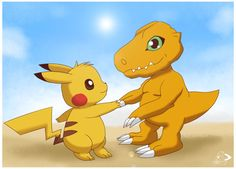 Pikachu shaking hands with agumon, not a sight seen often. Nonetheless, it was about time they got along x3 An idea inspired by , art done in SAI ^^