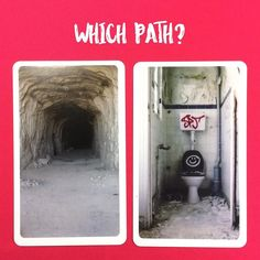 Working with shadow paths today. One leads into a dark cave. The other dead ends in the bathroom of an abandoned building. Which path would you choose (if you absolutely had to)? Why? . Deck: Life Path Cards #otmlifepathcards (see link in profile to order) #lifepath #oraclecardreadersofinstagram #divination #oraclecards #shadowwork #pathworking